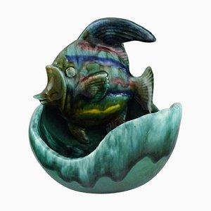 Schale aus glasierter Keramik mit Fisch von Belgian Studio Ceramicist, 1960er