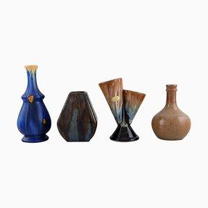 Vases in Glazed Ceramics, Belgium, 1960s, Set of 4