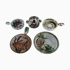Bowl, Lidded Jar and Three Crème Brûlée Bowls with Handles in Glazed Stoneware, Set of 5