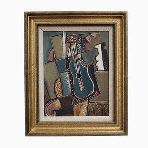 Still Life with Strings, JG, años 70, Oil on Board