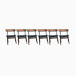 Vintage Danish Teak and Beech Dining Chairs from Farstrup, Set of 6