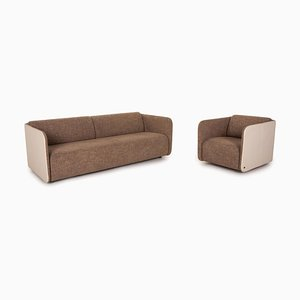 6900 Fabric Leather Sofa Set from Rolf Benz, Set of 2