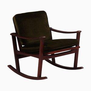 Mid-Century Teak Spade Dark Green Rocking Chair by M Nissen for Pastoe, 1960s