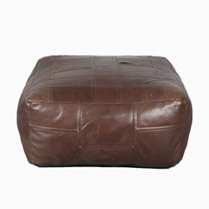 Brown Patchwork Leather Pouf from de Sede, Switzerland, 1970s