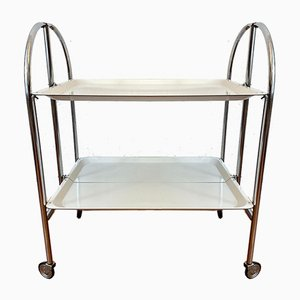 Serving Trolley in Chrome with White Tray, 1970s