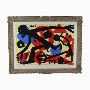 Serigrafia AR Penck, Ost West Sprung, 1994-5