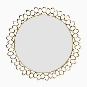Round Sculptural Brass Mid-Century Style Mirror