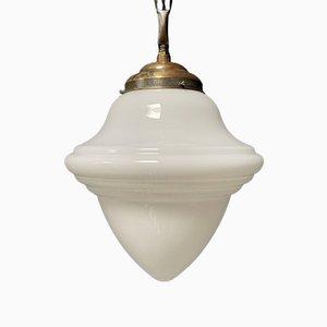 Lampada a sospensione in vetro opalino, anni '30