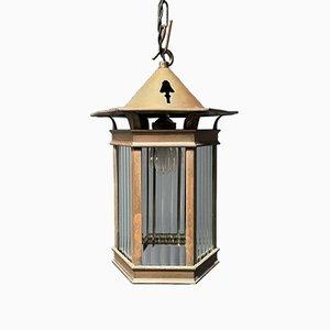 Lanterna in ottone con linea in vetro