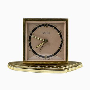 Alarm Table Clock Marked Arctos Gold Metal Germany 80 Years