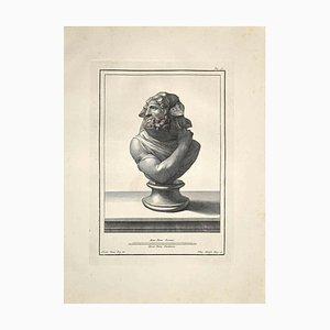 Filippo Morghen, Busto romano antiguo, Grabado original, finales del siglo XVIII
