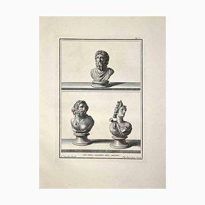Filippo Morghen, Bustos romanos antiguos, Grabado original, finales del siglo XVIII
