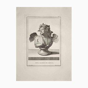 Filippo Morghen, Antike Römische Büste, Original Radierung, Spätes 18. Jh