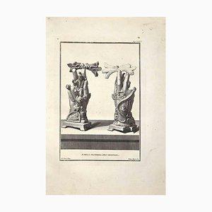 Filippo Morghen, esculturas romanas antiguas, aguafuerte original, siglo XVIII