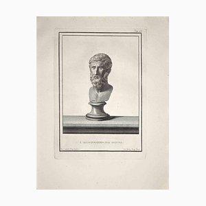 Nicola Billy, Busto romano antiguo, Grabado original, finales del siglo XVIII