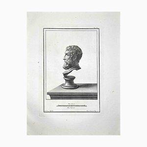 Francesco Cepparoli, Antike römische Büsten, Radierung, spätes 18. Jh