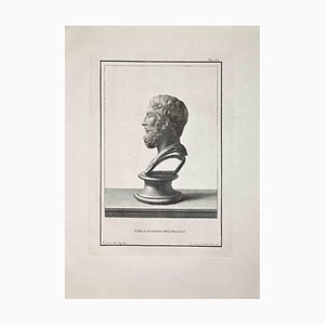 Francesco Cepparoli, perfil de busto romano antiguo, aguafuerte, finales del siglo XVIII