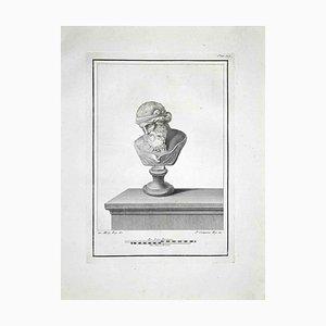 Ferdinando Campana, Ancient Roman Bust, Etching, Late 18th-Century