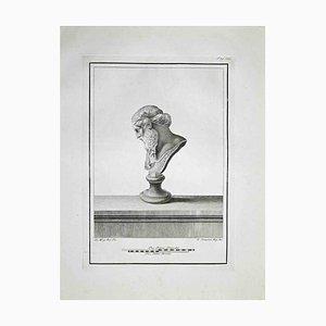Ferdinando Campana, perfil de busto romano antiguo, aguafuerte, finales del siglo XVIII