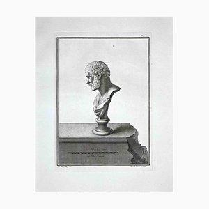 Aguafuerte Bernardino Nolli, Busto romano antiguo, finales del siglo XVIII
