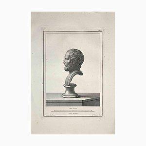 Nicola Fiorillo, perfil de busto romano antiguo, aguafuerte, finales del siglo XVIII