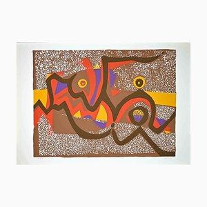 Wladimiro Tulli, Composizione marrone, Serigrafia originale colorata, anni '70