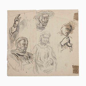 Unknown, Figures, Original Pencil on Paper, Early 20th-Century