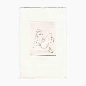Unknown, Posing Nude, Original Etching and Drypoint, Mid-20th-Century