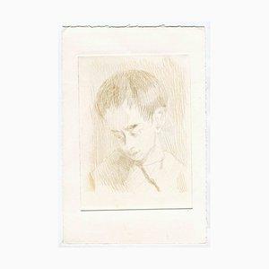 Inconnu, Le Portrait d'un Garçon, Gravure Originale et Pointe Sèche, Mid-20th-Century