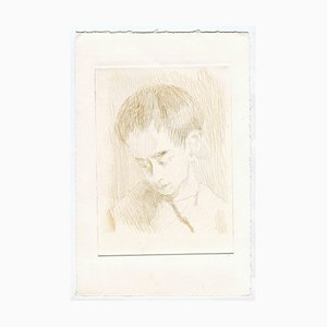 Unknown, The Portrait of a Boy, Original Etching and Drypoint, Mid-20th-Century