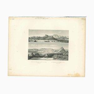Unbekannt, Antike Ansicht von Uxmal, Original Lithographie, Frühes 19. Jh
