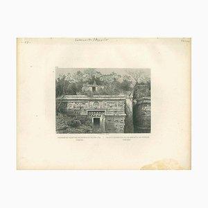 Unbekannt, Antike Ansicht von Chiche-Itza, Original Lithographie, Frühes 19. Jh