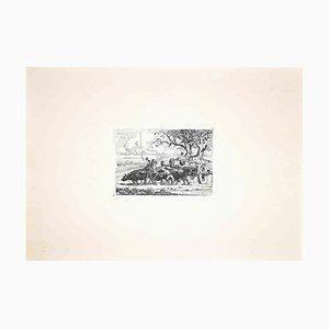 Carlo Coleman, Buffalo in the Roman Countryside, Original Etching, 1992