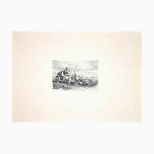 Carlo Coleman, Bulls in the Roman Countryside, Original Radierung, 1992