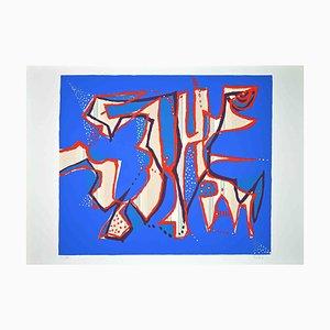 Wladimiro Tulli, Composition in Blue, Serigrafia originale colorata, anni '70