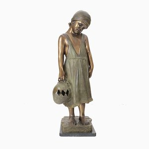 Bronze Sculpture of Girl with Jug