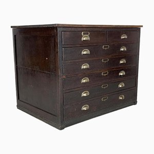Oak Plan Chest with Metal Cup Handles, 1940s