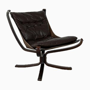 Vintage Dark Brown Leather Low Back Falcon Chair by Sigurd Resell