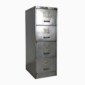 Vintage Polished Steel 4 Drawer Filing Cabinet with Brass Handles