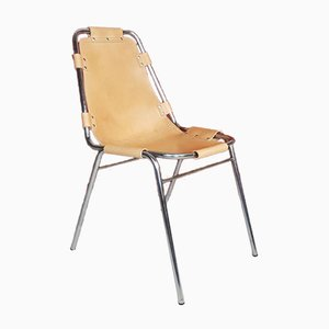 Brown Leather Les Arcs Chair by Charlotte Perriand for Le Corbusier, 1960s