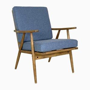 Vintage Teak Armlehnstuhl mit Blauem Bezug