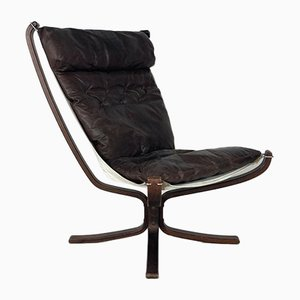 Sedia Falcon vintage in pelle marrone scura di Sigurd Resell