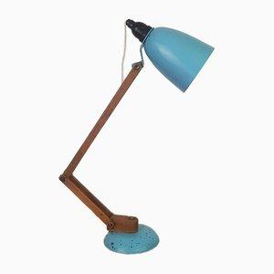 Lampada Maclamp vintage turchese con braccia in legno