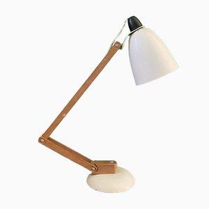 Lampada Maclamp vintage bianca con braccia in legno