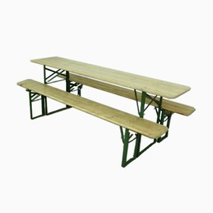 Vintage German Beer Garden Table and Benches in Natural Pine Finish, Set of 3