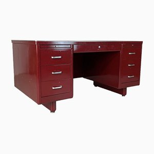 Vintage Red Painted Steel Double Pedestal Desk