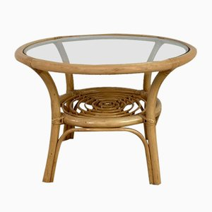 Vintage Bamboo and Glass Coffee Table, 1970s