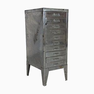 Stripped and Polished Steel Filing Cabinet with Drawers