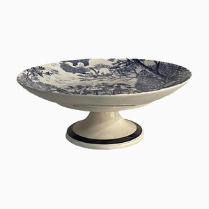 Vintage Ceramic Table Stand in White with Blue Decoration, 20th Century