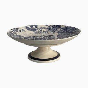 Vintage Keramik Tischständer in Weiß mit Blauer Dekoration, 20. Jh